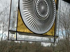 Square Stainded Glass window with clear plate in by ravenglassgirl, $68.00