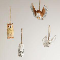 Wood Owl Ornaments, Set of 4   World Market