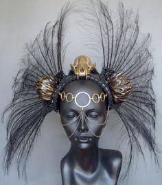 SOLD Gold Skull & Black Feather Headdress Warrior. $325.00, via Etsy.