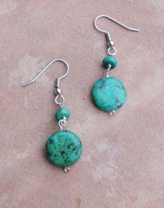 Natural Turquoise Dangle Earrings by jewelrybyCandaceJ on Etsy, $12.00