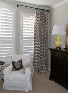 love the pattern window treatments over the shutters for the bedroom.