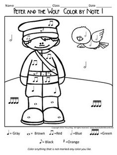 Color by Note - Peter and the Wolf by The Bulletin Board Lady-Tracy King Elementary Music Lessons, Music Lessons For Kids, Music For Kids, Children Music, Teaching Music, Teaching Kids, Teaching Resources, Peter Wolf, Wolf Colors