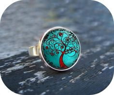Modern Tree Ring : Silver Glass Art Ring Picture Ring Art Ring Handcrafted Jewelry by Lizabettas (1387)