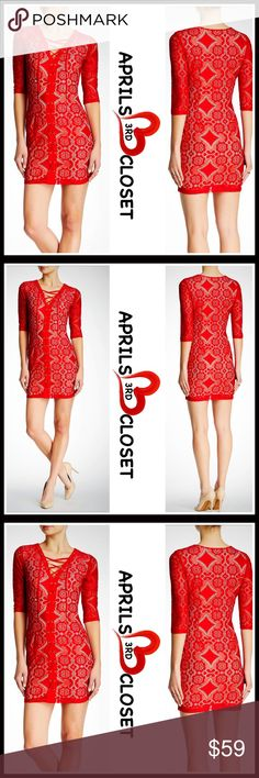 """RED DRESS Lace Pattern Mini Dress 💟NEW WITH TAGS💟   Lace Pattern Mini Dress   * V-Neck   * 3/4 long sleeves   * Side zip closure & some stretch; Lined   * Approx 33"""" long   * Allover floral lace, gold tone grommet & lace up front details   * Bodycon fit & sheath silhouette   Fabric: Polyester, 20% spandex  Color: Red  Item# SEARCH# Cocktail Striped party sexy club crochet Shift sheath vintage bodycon body conscious bandage shirtdress  🚫No Trades🚫 ✅ Offers Considered/Bundle Discounts✅…"""