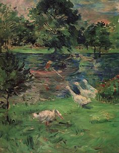 Girl in a Boat with Geese Berthe Morisot Check more at http://artunframed.com/Gallery/shop/girl-in-a-boat-with-geese/