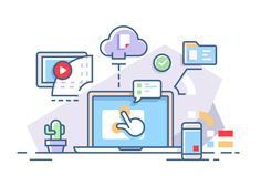 Interactive+workflow+process+using+computers+and+cloud+services.+Vector+illustration.Vector+files,+fully+editable.
