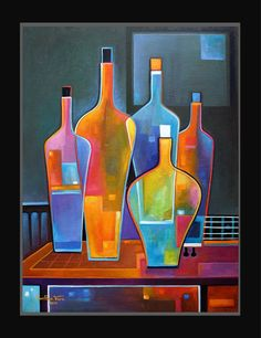 Original Abstract Painting Cubist Wine and Guitar Oil on canvas Marlina Vera…
