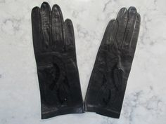 "Vintage 1950's UNUSED Embroidered Cutout Black Leather 8"" Wrist Length Gloves---Size 6 1/2--Auction #1245 by PrimaMona on Etsy"