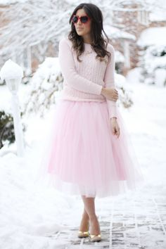 Pale pink, cable knit, tule #outfit #fashion