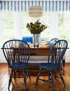 Windsor Chairs Painted Navy Blue Are A Fun Addition To This Blue And White  Breakfast Nook.   Traditional Home ® / Photo: Francesco Lagnese / Design:  Gerald ...