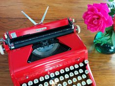 Bright Red Royal Quiet Deluxe Manual Typewriter 1957 by MadeMojo, $250.00