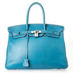 Herms Birkin 35 Blue Jean Satchel.