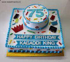 75th birthday theme 2 layer customized designer cake for kabaddi player's birthday at Baner, Pune