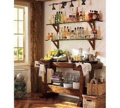 Wet bar designs for the home come with great looks & are very practical. Check out our 30 examples of custom & small wet bars for the basement and home. Pottery Barn Bar, Bandeja Bar, Bar Hutch, Bar Sala, Wet Bar Designs, Bar Console, Apartment Needs, Bar Cart Styling, Glass Shelves