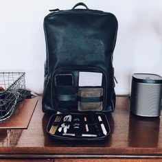 "Packing the Venture for a busy travel week. Venture Backpack black regular size (15"" laptop) shown here. #tigventure #leatherbackpack / shipping this week."