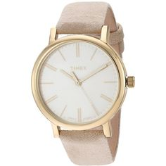 Timex Originals Tonal Leather Strap Watch (Beige/Gold-Tone) Watches ($75) ❤ liked on Polyvore featuring jewelry, watches, gold-tone watches, beige watches, stainless steel jewelry, stainless steel wrist watch and water resistant watches