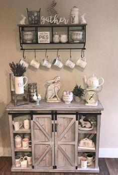 38 Resource To Help You Become Rae Dunn Coffee Bar Display 9 Coffee Bars In Kitchen, Coffee Bar Home, Home Coffee Stations, Coffee Area, Coffee Nook, Coffee Coffee, Coffee Flour, Happy Coffee, Coffee Beans