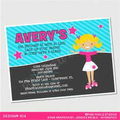 Girl Roller Skate Birthday Party Invitation by PinkPickleParties, $10.00