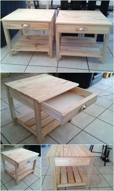 Do you have a wood pallet side tables in your bedroom area? If not then having a wood pallet created side table is the ideal alternative for you. Look at this amazing wood pallet side tables for your use! They are set out to be light in weight that makes it much easy in terms of the placement movement. #WoodworkingIdeas
