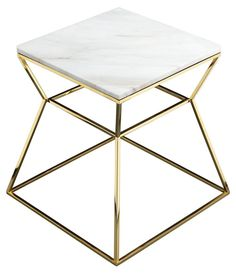Geo Marble Side Table, White
