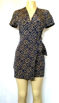 Adrianna Papell Safe Silk Wrap Dress Mini Blue Olive 4P Short Sleeves Geometric #AdriannaPapell #casualWrapDress #any