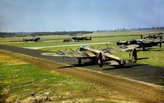 Avro Lancaster Mk I, R5689, VN-N of 50 Squadron starting engines for take off at RAF Swinderby.