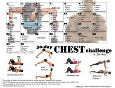 I thought since it's a new month I'd post this cool Challenge I found. It's great for guys and girls and even though it's a Chest Challenge, you'll also be working muscles and area… - 30 Days Workout Challenge Fitness Hacks, Fitness Workouts, Fitness Herausforderungen, Fun Workouts, At Home Workouts, Monthly Workouts, Fitness Journal, Fitness Watch, Body Challenge