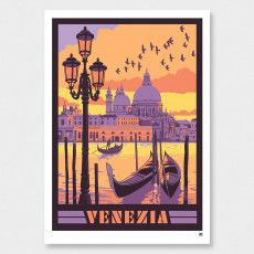 Venice Art Print by Ross Murray Vintage Art Prints, Vintage Colors, Graphic Posters, Graphic Art, Craft Beer Labels, Tourism Poster, Nz Art, Vintage Travel, Travel Style