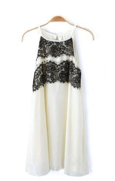 Sexy Spaghetti Straps Lace Splicing Chiffon Dress $26