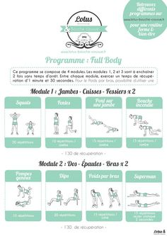 PARTIE 1/2 : PROGRAMME FULL BODY 2 A TELECHARGER GRATUITEMENT. #fitfrenchies #fitfam #fitness #motivation #quote #sport #entrainement #forme #shape #fullbody #musculation #femme #maison #fitgirls #circuit #workout #tbc
