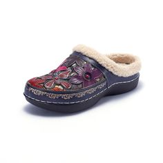 87cc6419956 LAURA VITA Women Casual Butterfly Pattern Hand-colored Genuine Leather Warm  Flat Shoes