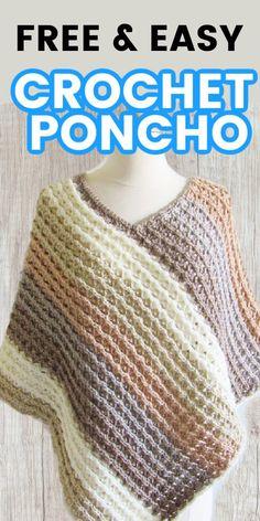 Poncho Knitting Patterns, Knitting Stiches, Crochet Cardigan Pattern, Blanket Patterns, Blouse Patterns, Crochet Patterns, Thread Crochet, Knit Or Crochet, Diy Crochet Poncho