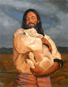 """Rejoice with Me, I have found My lost sheep..."" ~Luke 15:6   (""The Lamb' by Stephen Sawyer)"