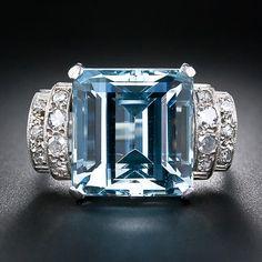 Art Deco 12.5 carat Aquamarine and Diamond Ring - circa 1930's