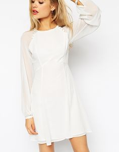 ASOS COLLECTION ASOS Baby Doll Dress with Blouson Sleeves and Button Details