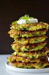 Zucchini Fritters  Ingredients: 4 cups shredded zucchini 2/3 cup all-purpose flour 2 large eggs, lightly beaten 1/3 cup sliced scallions (green and white parts) Vegetable oil Sour cream, for serving (optional)  Method: Place the shredded zucchini in a colander set over a bowl and sprinkle the zucchini lightly with salt. Allow the zucchini to stand for 10 minutes. Using your hands, squeeze out as much liquid from the zucchini as possible. Transfer the zucchini to a large bowl. Add the flour…
