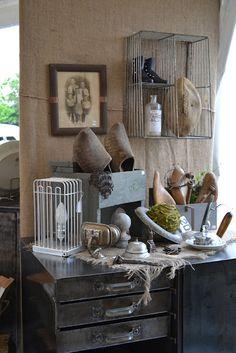 vintage display ~ wire baskets... metal drawers ... nice
