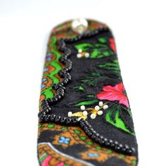 Ethno wrist cuff bracelet black floral fabric beaded от Youkki