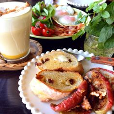 朝ごはん。breakfast. #baked#apple #pumpkin#spice#latte