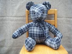 This plaid bear is made from someone's flannel pajama pants. It was quilted before construction. What a great repurpose project to remember someone special.