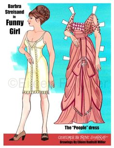 """Barbra Streisand in """"Funny Girl,"""" costumes by Irene Sharraf, paper doll by Eileen Rudisill Miller of Clothes Crafts, Doll Clothes, Diy Paper, Paper Crafts, Foam Crafts, Paper Art, Paper Dolls Printable, Paper People, Paper Fashion"""
