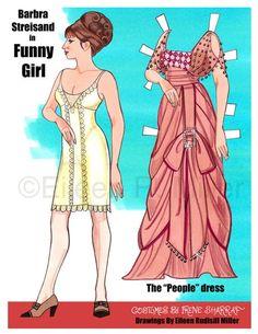 "Barbra Streisand in ""Funny Girl,"" costumes by Irene Sharraf, paper doll by Eileen Rudisill Miller of Diy Paper, Paper Crafts, Foam Crafts, Paper Art, Papercraft Anime, Paper Dolls Printable, Paper Doll Template, Paper People, Barbra Streisand"