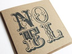 NOEL Eco Recycled Kraft Christmas Cards by STNstationery on Etsy, £1.50