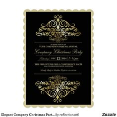 Elegant Company Christmas Party Invitation   Zazzle.com