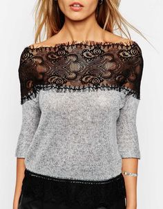 Image 3 of ASOS Jumper in Soft Fabric with Lace Off Shoulder