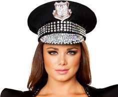 Studded Patrol Police Cop Captain Hat Halloween Accessories e79f78ab8318