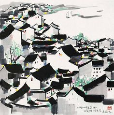 Chinese artist Wu Guanzhong and his paintings at China Online Museum. Japanese Drawings, Japanese Art, Chinese Painting, Chinese Art, Wu Guanzhong, China, Building Painting, Chinese Landscape, Lotus