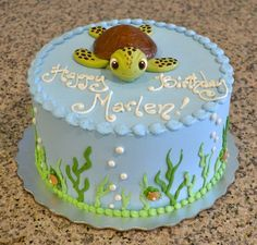 Write Name On Sea Turtle Birthday Cake For Kids.Happy Birthday Cake with Namepi. Write Name On Sea Turtle Birthday Cake For Kids.Happy Birthday Cake with Namepix. Fancy Cakes, Cute Cakes, Cake Cookies, Cupcake Cakes, Decors Pate A Sucre, Turtle Birthday Parties, Turtle Birthday Cakes, Birthday Ideas, Turtle Party
