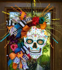 Halloween art skull Day of the Dead sugar skull wreath loaded with color for halloween southernsass Casa Halloween, Holidays Halloween, Happy Halloween, Halloween Party, Vintage Halloween, Diy Halloween Decorations, Halloween Crafts, Halloween Wreaths, Outdoor Decorations