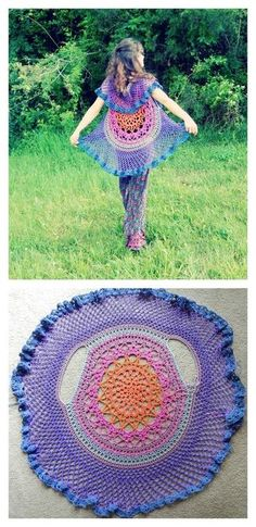 Crochet Poncho Lotus Mandala Circular Vest FREE crochet pattern - Crochet jackets are not only warm and cozy, but also pretty. If you are a fan of crochet, why not crochet a circle jacket? Crochet Circle Vest, Poncho Au Crochet, Pull Crochet, Crochet Circles, Free Crochet, Crochet Baby, Knit Crochet, Crochet Vests, Crochet Sweaters